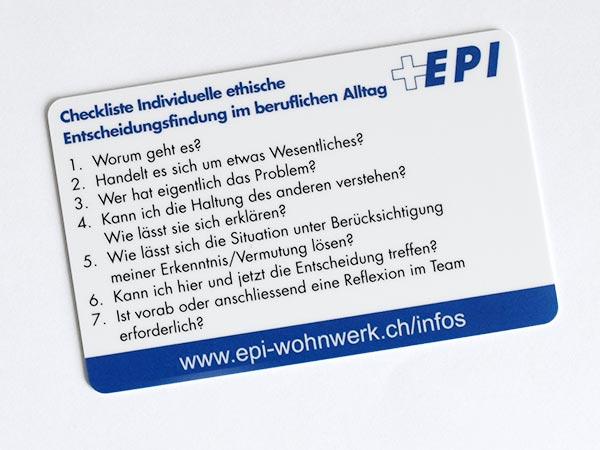Bild der Checkkarte zu ethischen Entscheidungsfindungen